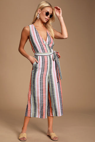 Evanston Coral Multi Striped Culotte Jumpsuit - Lulus