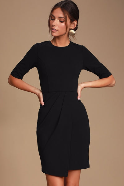 Westwood Black Half Sleeve Sheath Dress - Lulus