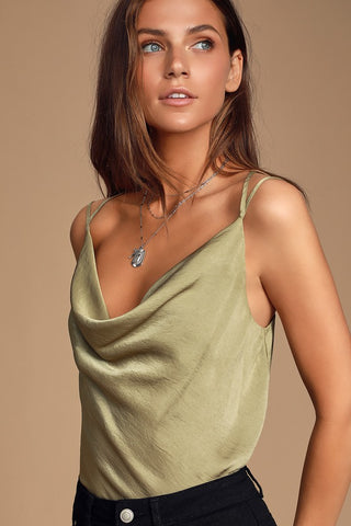 Joslin Olive Green Cowl Neck T-Back Top - Lulus