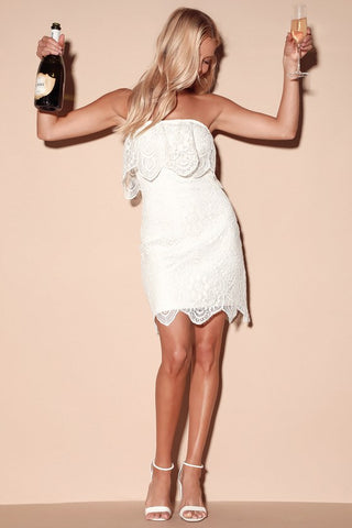 A Lace of You White Lace Strapless Mini Dress - Lulus