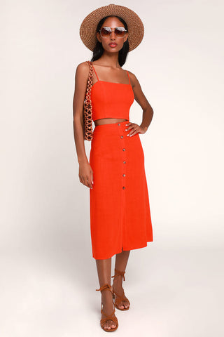 Rosalda Red Orange Button-Up Midi Skirt - Lulus