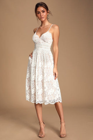 Treasure Me White Lace Midi Dress - Lulus
