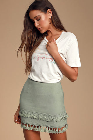 Sekera Sage Green Tassel Mini Skirt - Lulus