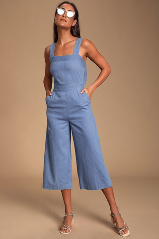 Whilo Light Blue Chambray Tie-Back Culotte Jumpsuit - Lulus