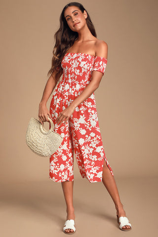 Summer Nights Red Floral Print Culotte Jumpsuit - Lulus