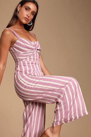 Elodie Lavender Striped Twist Front Wide-Leg Jumpsuit - Lulus