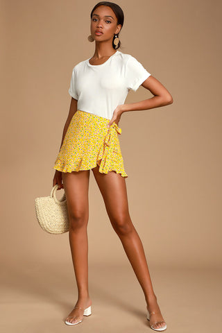 Fleurt With Me Yellow Floral Print Ruffled Skort - Lulus