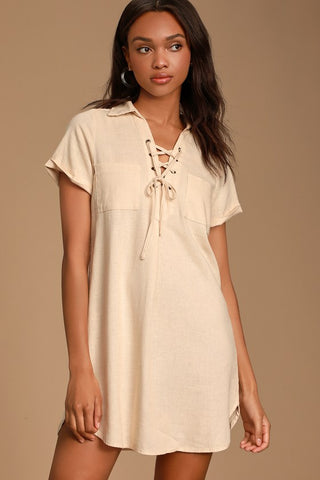 Aaryn Cream Collared Lace-Up Shift Dress - Lulus