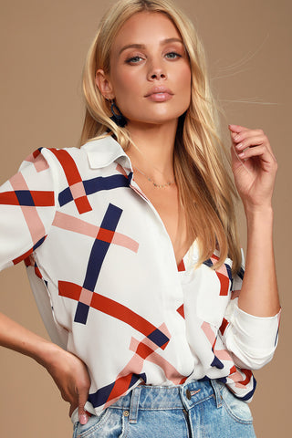 Camrose White Geometric Print Button-Up Long Sleeve Top - Lulus