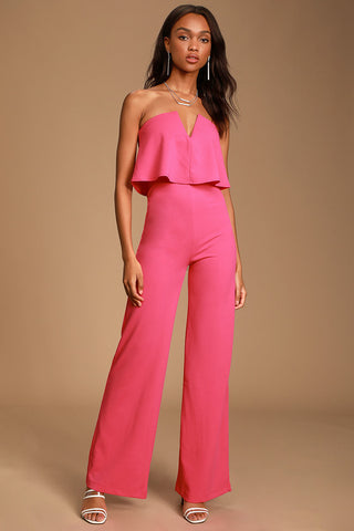 Power of Love Bright Pink Strapless Jumpsuit - Lulus