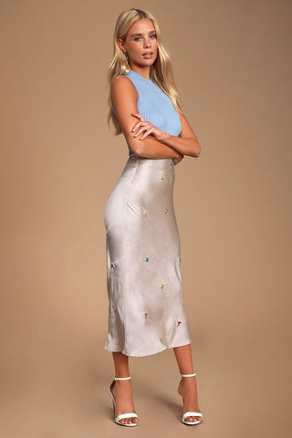 Daisy Fresh Cream Satin Embroidered Midi Skirt - Lulus