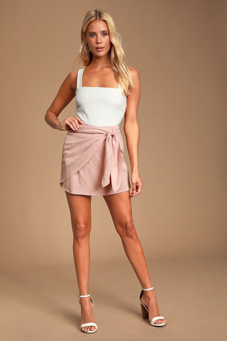 Ayla Blush Pink Tie-Front Mini Skirt - Lulus