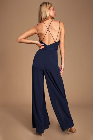 Hype Dream Navy Blue Backless Wide-Leg Jumpsuit - Lulus