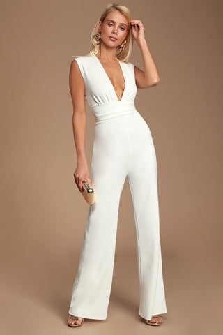 Diva Moment White Sleeveless Jumpsuit - Lulus