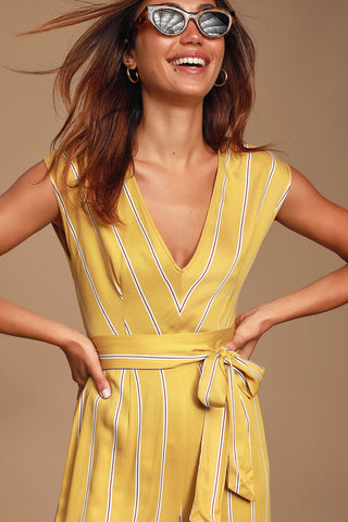 All The Right Moves Mustard Yellow Striped Culotte Jumpsuit - Lulus