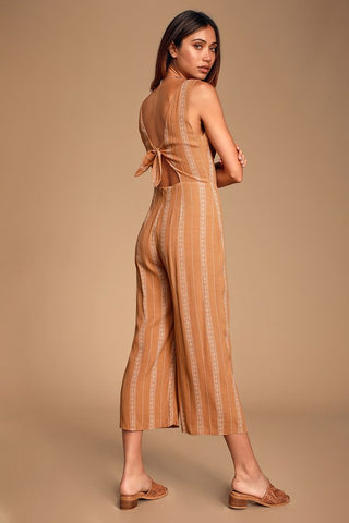 Alava Camel Striped Sleeveless Tie-Back Culotte Jumpsuit - Lulus