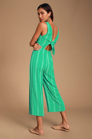 Alava Green Striped Sleeveless Tie-Back Culotte Jumpsuit - Lulus