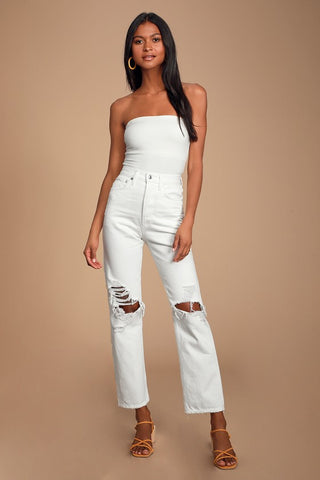 90's Mid Rise White Loose Fit Distressed Jeans - Lulus