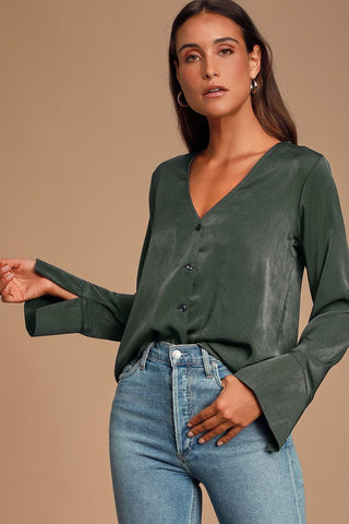 Adilene Dark Olive Green Long Sleeve Button-Up Top - Lulus