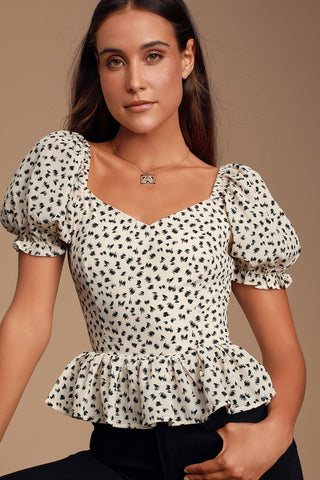 Dear Dotty Cream Print Ruffled Peplum Top - Lulus