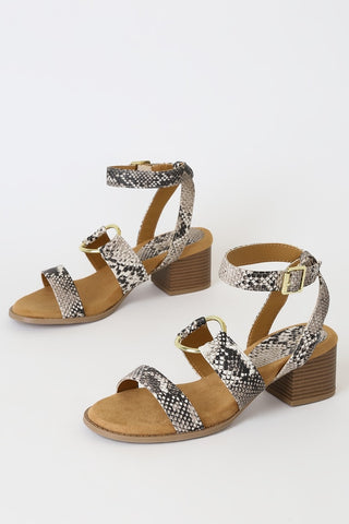 Danielle Beige and Brown Snake High Heel Sandal Heels - Lulus