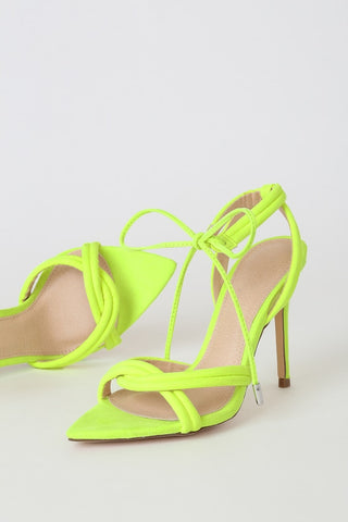 Shelby Neon Yellow Suede Pointed-Toe Lace-Up Heels - Lulus