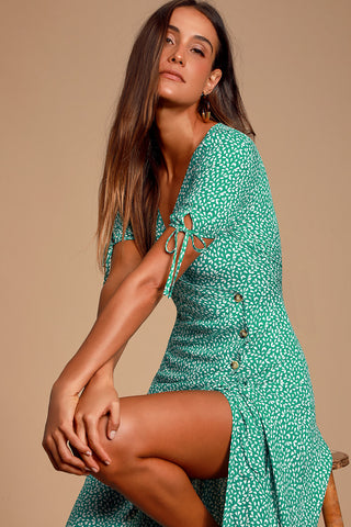 Paria Green Leaf Print Button-Up Short Sleeve Midi Dress - Lulus