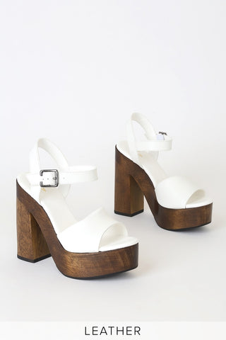 Lolita Leather White Wooden Platform Heels - Lulus