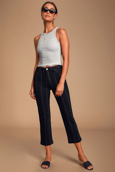Accacia Black Striped High-Waisted Cropped Jeans - Lulus