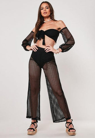 Black Fishnet Pants And Top Co Ord Set