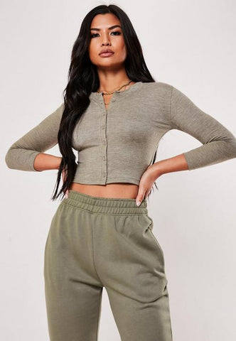 Green Button Front Long Sleeve Crop Top
