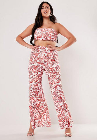 Plus Size Red Porcelain Print Bandeau Top And Wide Leg Pants Co Ord Set