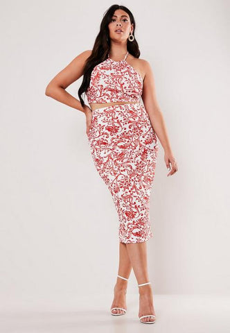 Plus Size Red Porcelain Print Crop Top And Midaxi Skirt Co Ord Set
