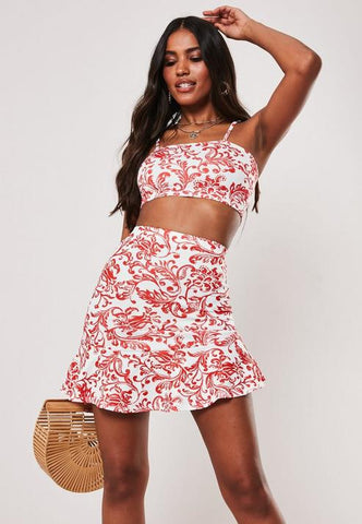 Red Porcelain Print Crop Top Asymmetric Ruffle Skirt Co Ord Set