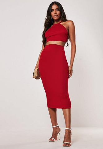 Red T Bar Back Crop Top Midaxi Skirt Co Ord Set
