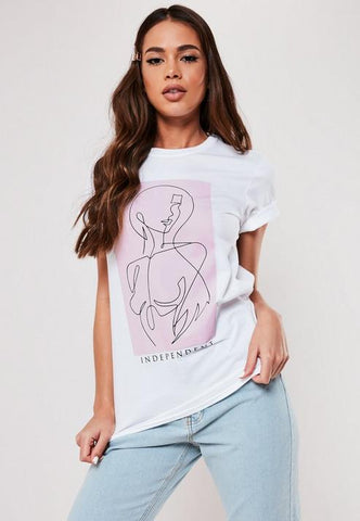 White Female Body Line Drawing Graphic T Shirt