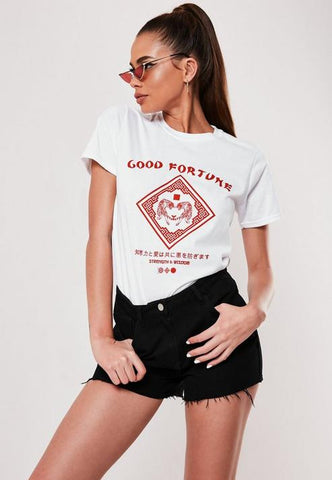 White Good Fortune Tiger Graphic T Shirt