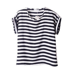 Chiffon T-Shirts Ladies Loose Short Sleeve Shirts Striped Heart Lip Tops Batwing Sleeve Sexy - 72h PrixCoûtant