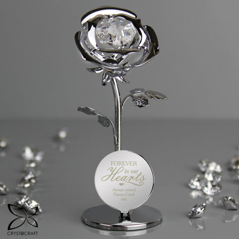 Personalised Forever in Our Hearts Crystocraft Silver Rose