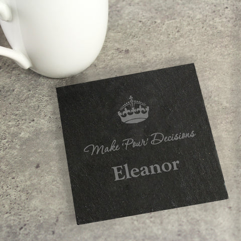 Personalised Crown Motif Single Slate Drinks Coaster - Gift Moments