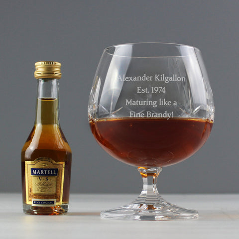 Personalised Crystal Glass & Brandy Gift Set - Gift Moments