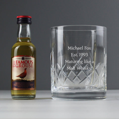 Personalised Crystal Tumbler & Whisky Gift Set - Gift Moments