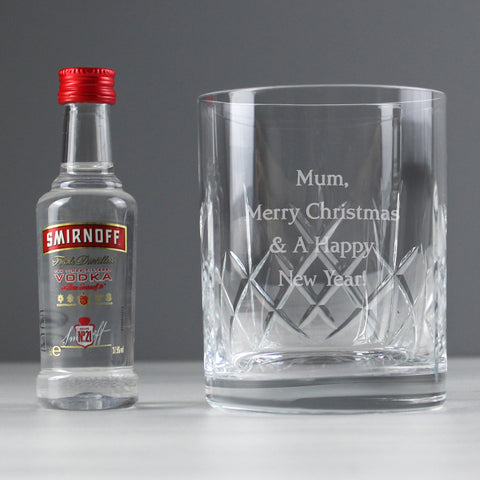 Personalised Crystal Tumbler & Vodka Gift Set