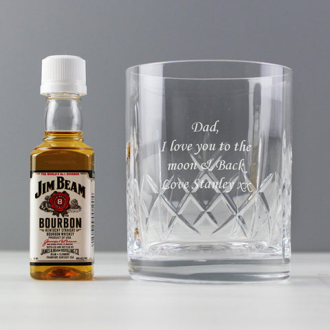 Personalised Crystal Glass & Bourbon Whisky Gift Set