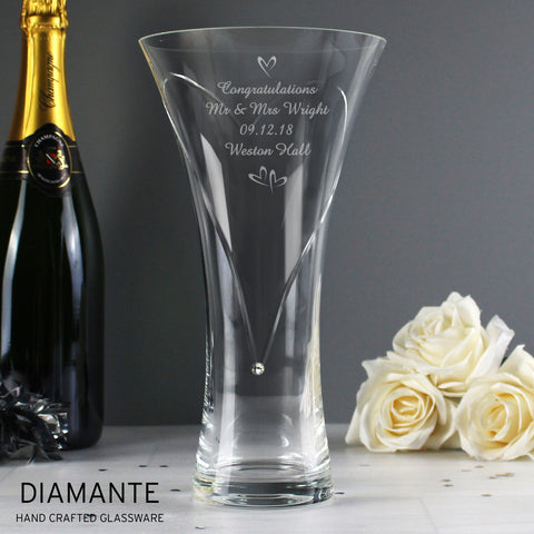 Personalised Little Hearts Large Vase With Swarovski Elements