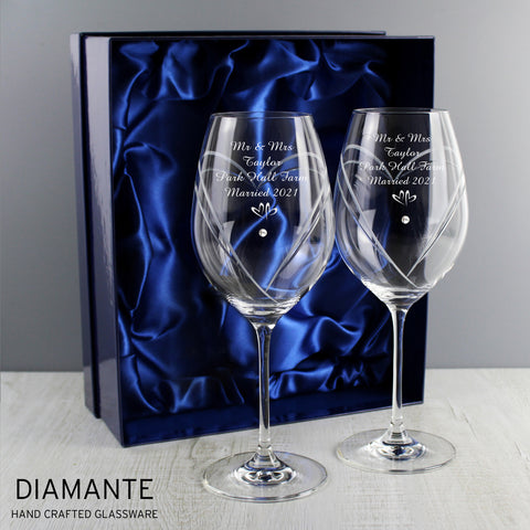 Buy Personalised Little Hearts Wine Glasses With Swarovski Elements £32.99 at Gift Moments