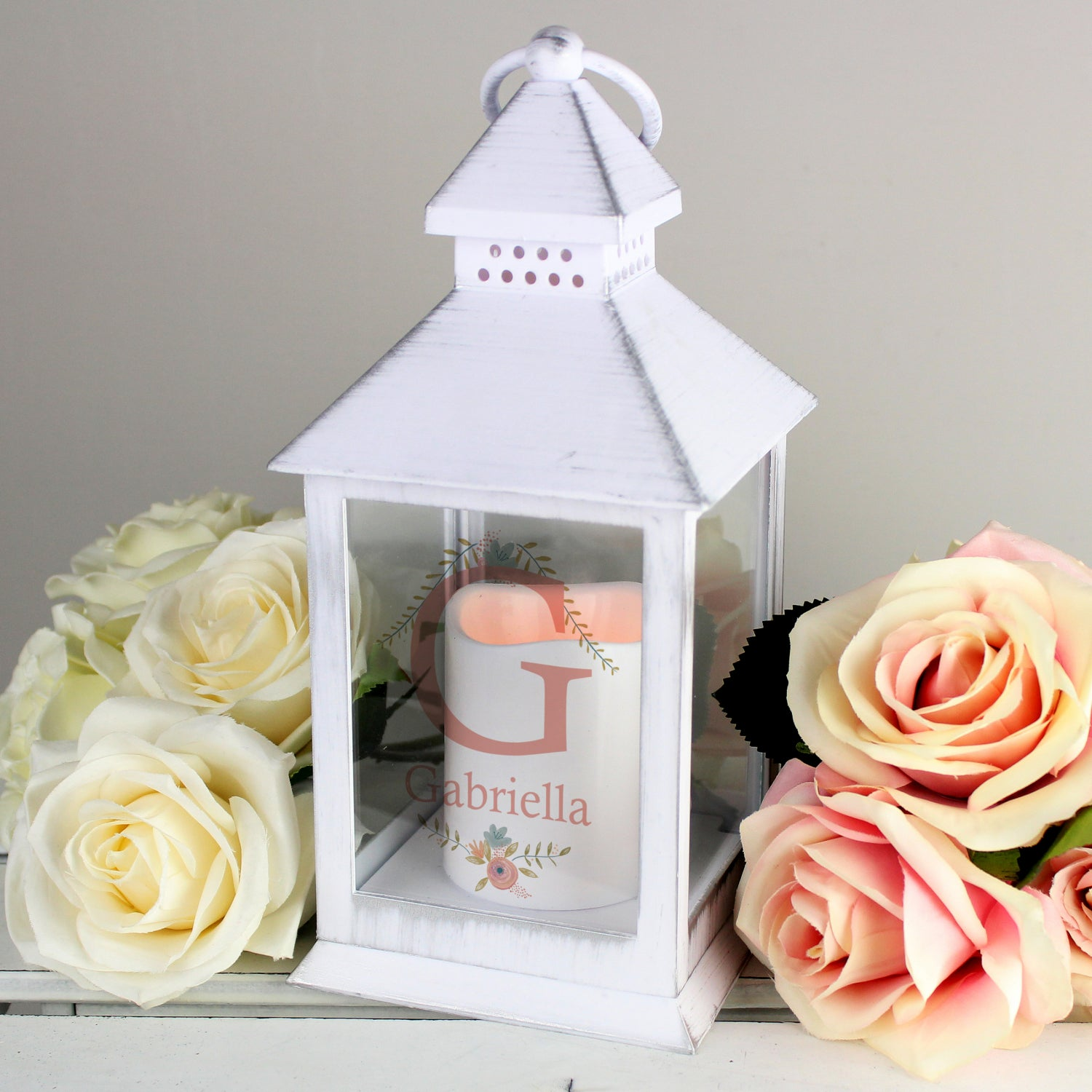 Buy Personalised Floral Bouquet Style White Flickering Candle Lantern £12.99 at Gift Moments