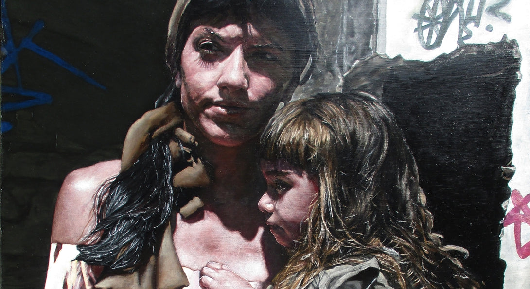 Detail of painting by Alex Knox