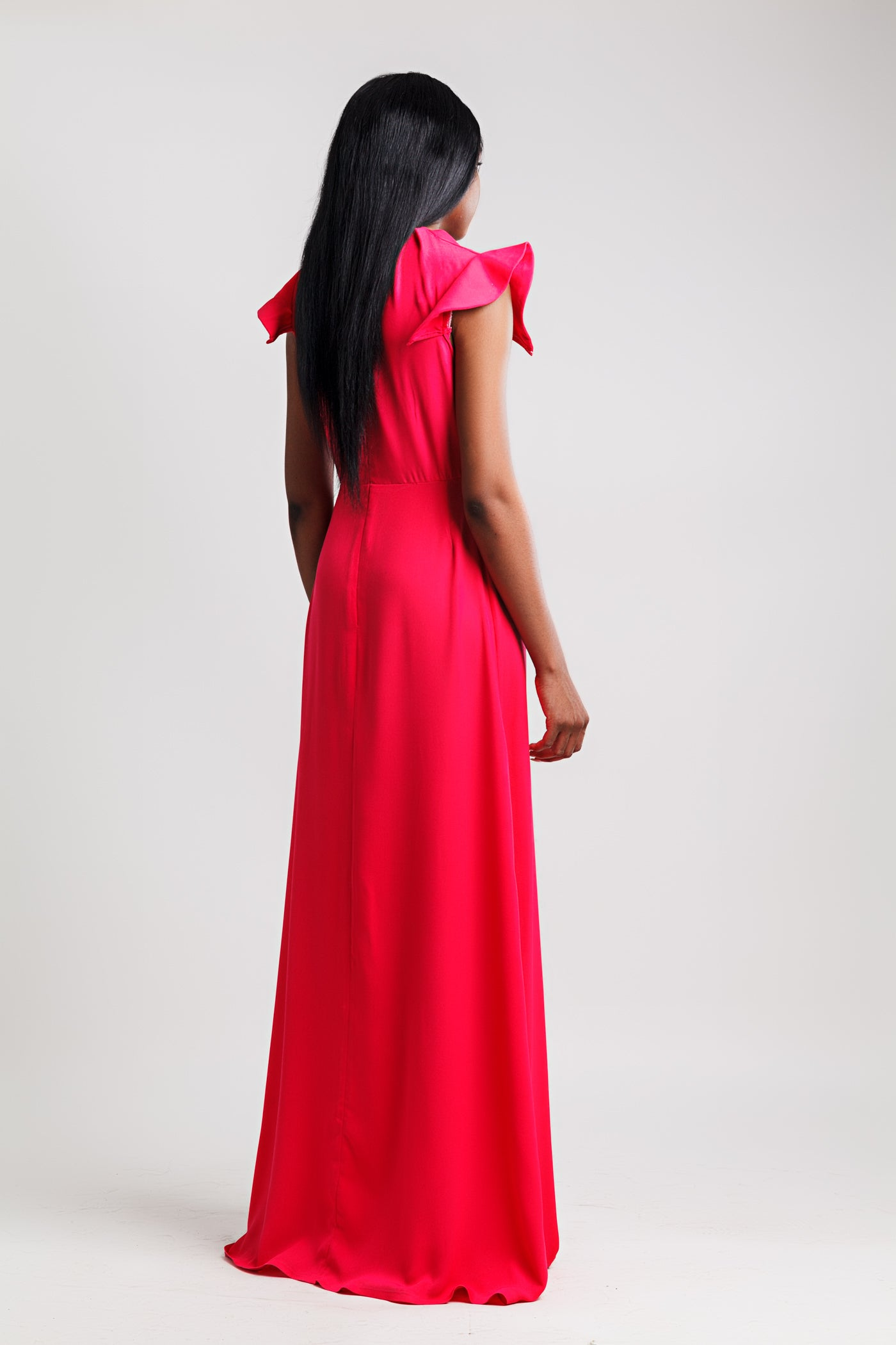 Pleat Neck Maxi Dress