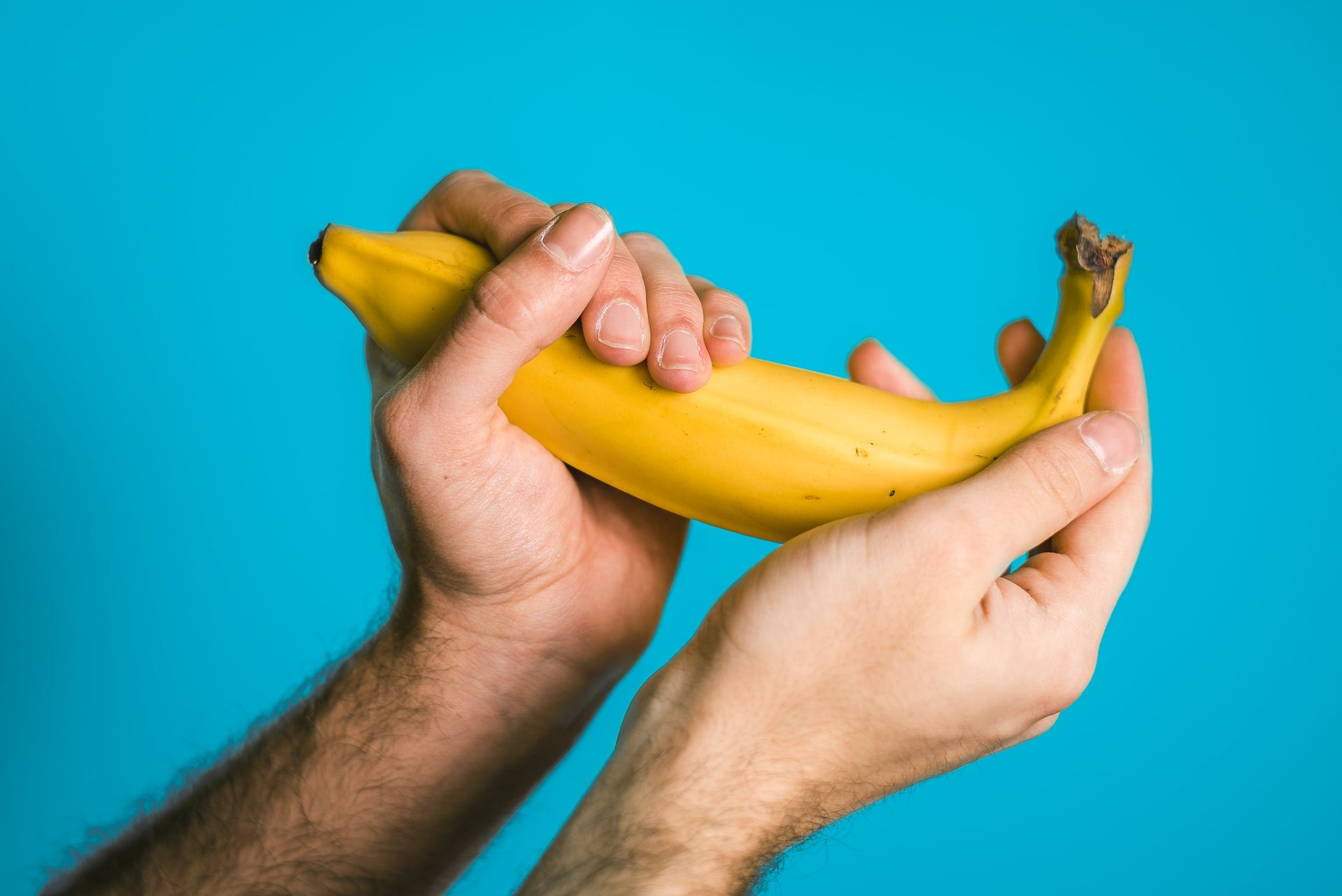 Banana in the hands of a person